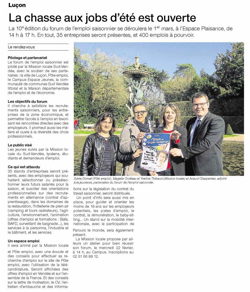 Forum emploi saisonnier Luçon Arnaud Charpentier
