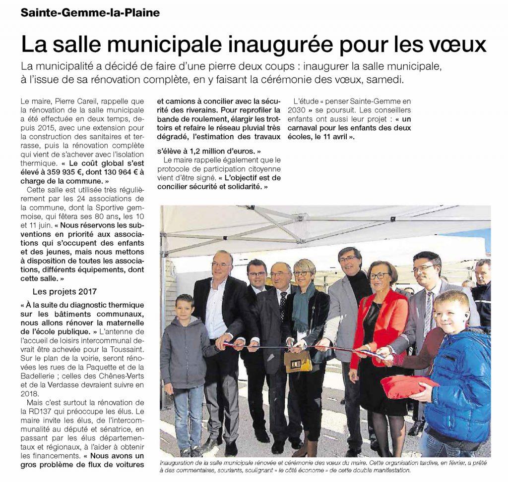 Sainte-Gemme-la-Plaine Ouest France Mardi 21 Février 2017 La salle municipale inaugurée pour les voeux