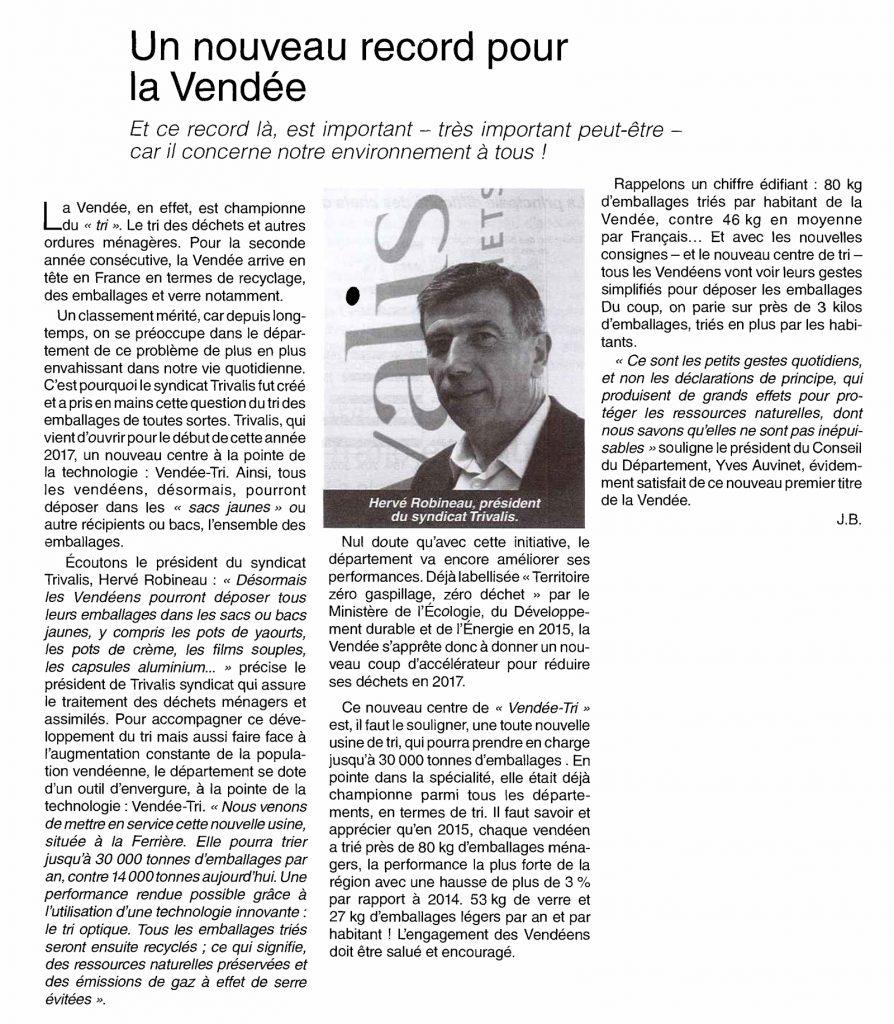 Environnement- Nouveau record pour la Vendée - Trivalis