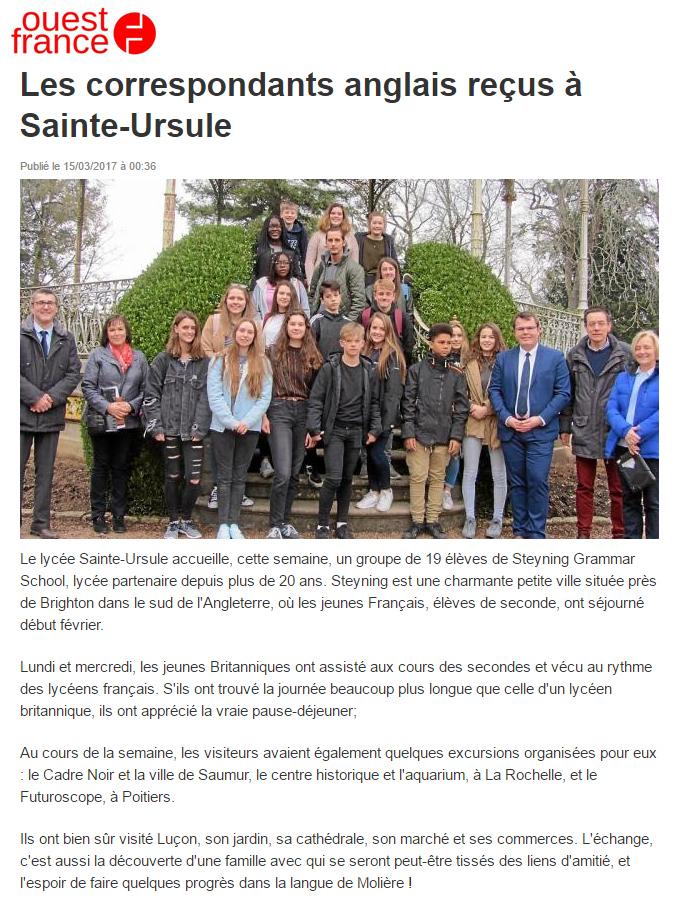 Arnaud Charpentier avec les correspondants anglais reçus à Sainte-Ursule